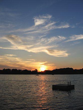 Copake, New York - Sunset over Copake Lake