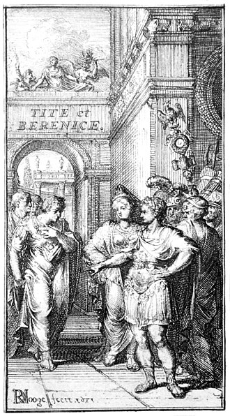 Tite et Bérénice - Fontispiece depicting Act V, scene 5, published in Amsterdam in 1671