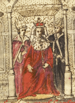 A 17th-century manuscript drawing of Henry's coronation. Coronation of henry i.png