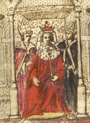 Claudius Pontificals - The opening page of Claudius Pontifical III (fol. 19) was decorated with a drawing of the coronation of Henry I by a later hand.