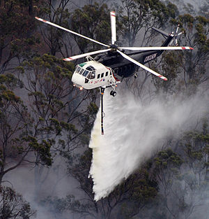 Sikorsky S-61 - A Coulson Aircrane S-61L doing a drop during the Australia bushfire season.