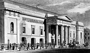Boosey & Hawkes - An illustration of the Theatre Royal, Covent Garden, by Thomas H. Shepherd, published in 1827–28. It became known as the Royal Opera House in 1892.