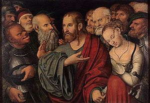 Lucas Cranach the Younger - Christ and the Woman Taken in Adultery  Hermitage Museum, Russia