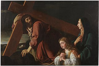 Christ carrying the Cross contemplated by Mary and the Christian Soul