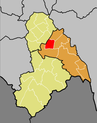 Addiscombe (ward) - The ward of Addiscombe (red) shown within the Croydon Central constituency (orange) within the London Borough of Croydon (yellow)
