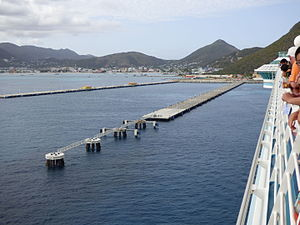 Dock (maritime) - Dock for cruise ships in St Maarten in the Caribbean.