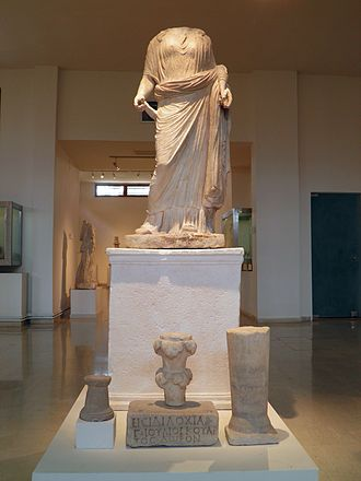Archaeological Museum of Dion - Statue of Isis–Tyche and marble votives offerings from the 2nd century CE.