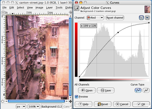 Curve (tonality) - Photo and curve dialog with red colour emphasized in the lighter end of the spectrum.