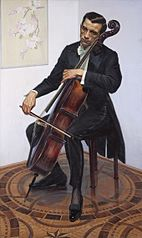 Portrait of musician Piotr Chmielewski with a cello.