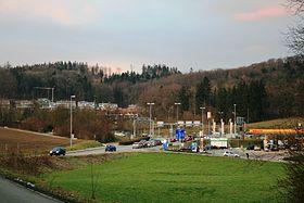 Motorway exit Baden-West, in the background the Segelhof district