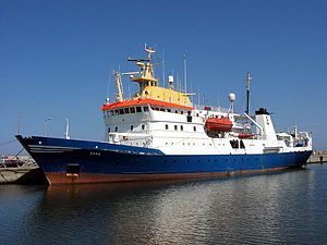 Fisheries science - The 78-metre (256-foot) Danish fisheries research vessel Dana.
