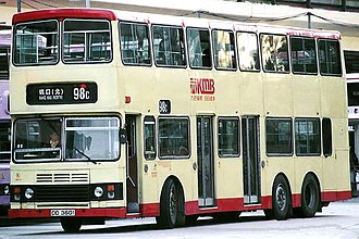 History of bus transport in Hong Kong - 3-door Leyland Olympian, with one entrance and two exits.