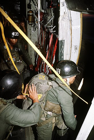 Republic of Korea Army Special Warfare Command - Korean paratroopers prepare to jump from a C-130 (1980).
