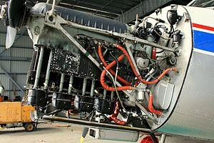 Straight engine - de Havilland Gipsy Major engine, an inverted inline-4 engine, mounted in a de Havilland Australia DHA-3 Drover
