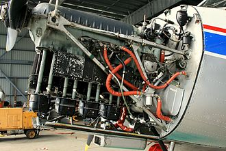 Straight engine - de Havilland Gipsy Major engine, an inverted inline-4 engine, mounted in a de Havilland Australia DHA-3 Drover
