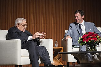 Mark K. Updegrove - Former U.S. Secretary of State Henry Kissinger and Mark Updegrove at The Vietnam War Summit at the LBJ Presidential Library in 2016. Photo by Jay Godwin.