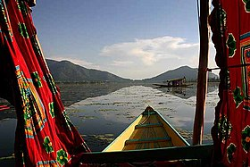 Dal Lake, going from the mugal gardens side back to Srinagar.
