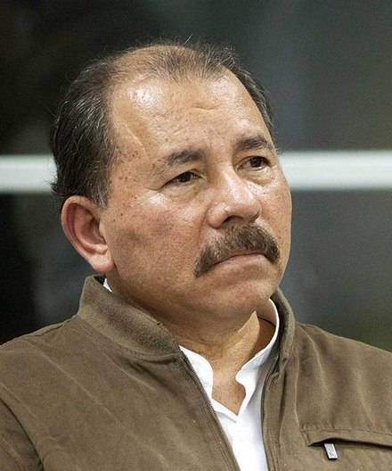 Daniel Ortega led the Sandinista National Liberation Front to victory in the Nicaraguan Revolution in 1990 Daniel Ortega (cropped).jpg