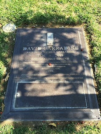"""Sonny Boy (1989 film) - Grave of David Carradine at Forest Lawn Hollywood Hills, with the quote from """"Paint"""": """"I'm lookin' for a place where the dogs don't bite, and children don't cry and everything always goes just right. And brothers don't fight."""""""