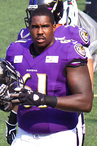 David Mims (offensive tackle) - Mims at Ravens M&T Bank Stadium practice in August 2013.