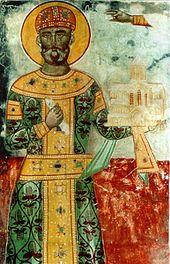david der erbauer in der linken hand ein modell des gelati klosters wandmalerei aus dem gelati kloster - Knig David Lebenslauf