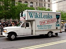 wikileaks  a truck bearing a slogan and wikileaks logo as a prop at the occupy wall street protest in new york on 25 2011