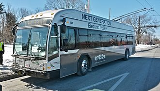 Trolleybuses in Dayton - One of Dayton RTA's four 2014-built Gillig/Vossloh Kiepe dual-mode buses in service in early 2015.  Twenty-six additional vehicles are now on order.