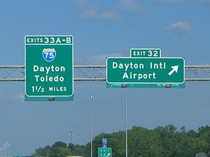 Dayton International Airport - Interstate 70 exit sign