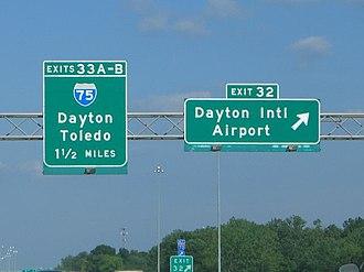 Dayton International Airport - Interstate 70 exit sign