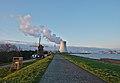 De Molen (windmill) and the nuclear power plant cooling tower in Doel, Belgium (DSCF3862).jpg