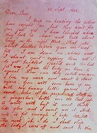 La prima lettera autografa di Jack lo squartatore