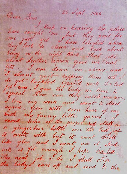 Jack L'éventreur 437px-DearBossletterJacktheRipper