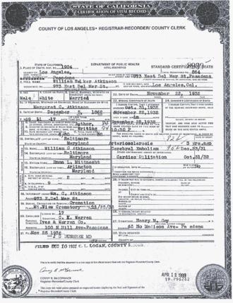 William Walker Atkinson - Image: Death Certificate for William Walker Atkinson