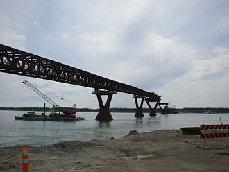Deh Cho Bridge - The bridge from the north or Fort Providence side of the Mackenzie River in July 2011