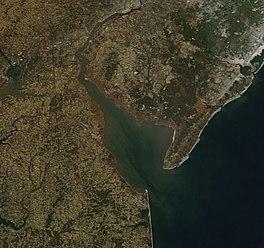 Delaware Bay in Winter from above