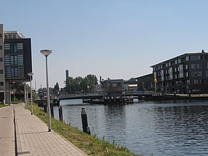 "Swing bridge - The ""Abtswoudsebrug"", a swing bridge for bikers and pedestrians built in 1979"