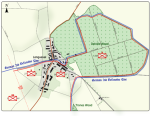 Colour map image depicting town and wood to the right of the town. Shows main access routes and positions of Allied and German forces on 15 July 1916