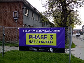 Regent Park - A banner indicating construction on phase 3 of the revitalization plan in May 2014