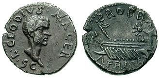 Lucius Clodius Macer - Clodius Macer portrait on one of his denarii.