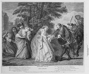 "Plaçage - A print by Dupin after Jean-Antoine Watteau depicting ""comfort women"" embarking unwillingly for the Americas. Whether ""comfort women"", ""casket girls"", or aristocrats, French women were reluctant to migrate to the French colonies."