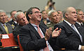 Deputy Secretary of Defense Ash Carter, center front, applauds during a ceremony he is hosting to honor Medal of Honor recipient U.S. Army Staff Sgt. Ty M. Carter, not shown, at the Pentagon in Arlington, Va 130827-D-NI589-279.jpg