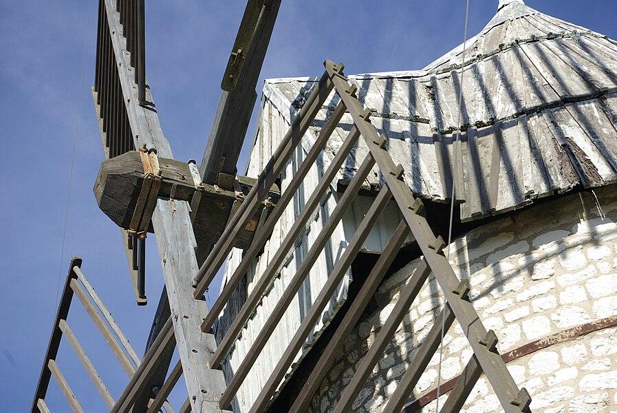 Detail of the tower windmill of Boisse (commune au Sainte-Alauzie, Lot France).