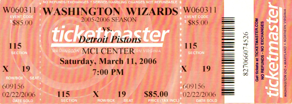 Detroit Pistons at Washington Wizards game ticket, March 11, 2006