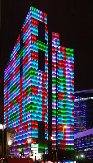 Rogier Tower - The Dexia Tower from the south during a light show
