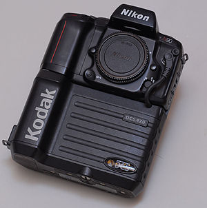 Kodak DCS - A Kodak DCS 420, a 1.2-megapixel digital SLR based on a Nikon F90 body.