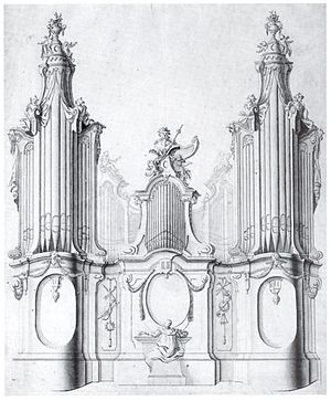 Organ building - Design for an organ by Johann Georg Dirr, 18th century