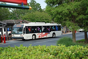English: A Disney bus in Walt Disney World, Fl...