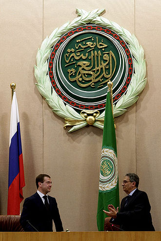 Foreign relations of the Arab League - Amr Moussa Shaking Hands with the Russian President Dmitry Medvedev