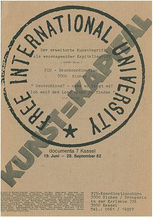 Free International University - Title page of the Free International University's event program for documenta 7