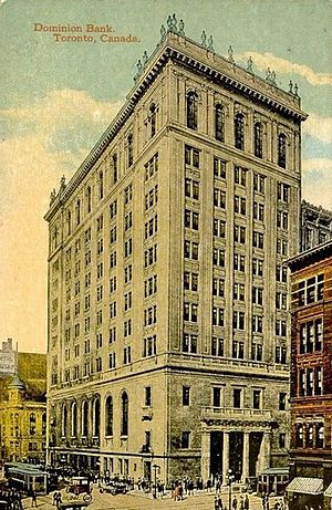 Postcard of the Dominion Bank building on the ...